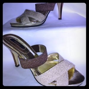 Gold and Brown Reba heels